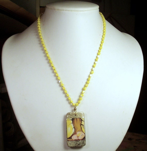 Pop Art GUINEA PIG Necklace - OOAK - Large Jasper Gemstone Reversible Pendant with opaque yellow glass cube beads and gold hardware