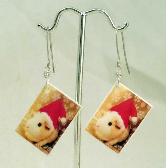 Guinea Pig SANTA CLAUS Earrings - Festive CHRISTMAS Novelty Photo Jewelry - Silver Red and Gold - One of a Kind