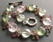 Reserved: Custom Green Quartz and Tourmaline Earrings in Silver
