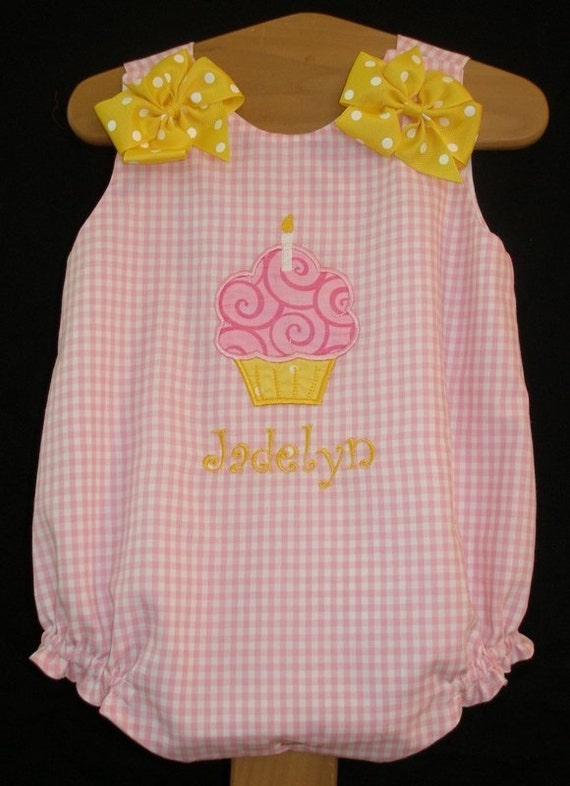 Pink Gingham Birthday Bubble Romper with Cupcake Applique and Yellow Monogram 6M 12M 18M 24M