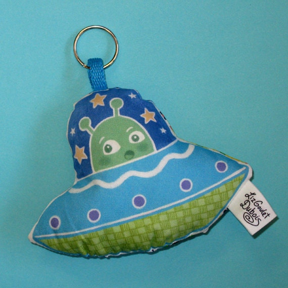 Space Alien UFO Stuffed Keychain made with Recycled 70's Fabric