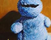 Cookie Monster Stuffed Toy Print of original painting 8x10 classic vintage Sesame Street