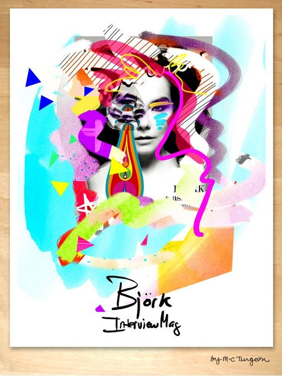 Bjork Poster - Medium size Poster Illustration by M-C Turgeon