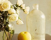 Still Life Photograph,  White Roses, Yellow Round Pear, Vintage Glass Bottle, Home Decor, Dining Room Art, 8x10 Print
