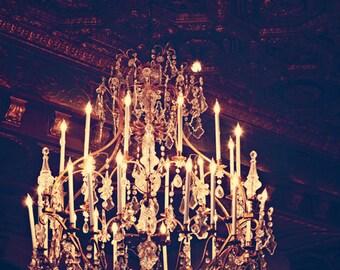 Fine Art Photograph, Chandelier Photo, St Regis Hotel, Luxury, Golden, Glowing, Romantic Art, Pretty, Bedroom Art, Home Decor, 8x12 Print