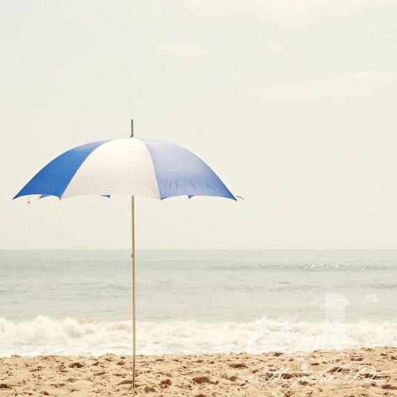 Fine Art Photograph, Royal Blue, White, Beach Umbrella, Summertime, Virginia Beach, Ocean, Sand, Waves, Sea, Umbrella Art, Square 8x8 Print