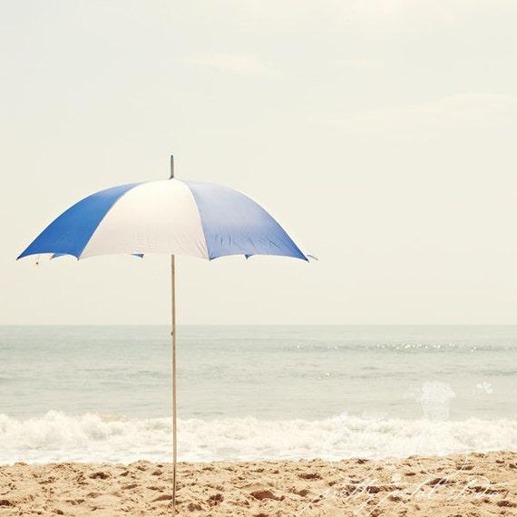 Fine Art Print, Beach Art, Coastal Decor, Royal Blue, Beach Umbrella, Summer Vacation, Virginia Beach Art, Ocean, Sand, Waves, Square Art