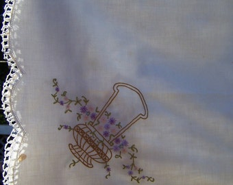 Vintage Linen Table Cloth / Flower Basket / Embroidered Cloth