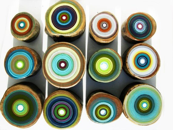 Bohemian Wall Decor On Wood Original Tree Ring Paintings by Tracy Melton