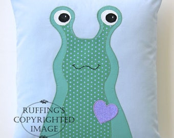 Handmade Slug Decorative Accent Throw Pillow, Home Decor, Hug Me Slug, Green Polka Dots, Powder Blue, 13x14 inch, Ready-made