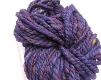 Handspun deep purple merino wool bulky yarn, 4 oz 60 yards
