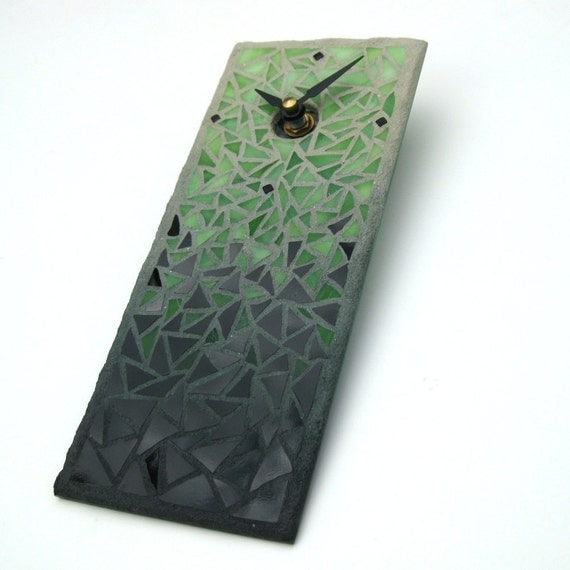 Stained Glass Mosaic Wall Clock - Fade to Black