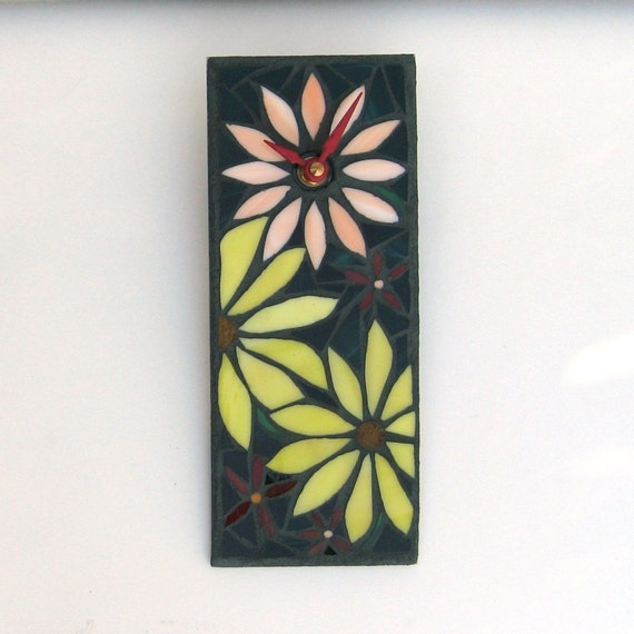Mosaic Art Wall Clock, Sunny Flowers in Yellow and Orange Stained Glass, Unique Floral Garden Clock, Small Office Clock, Housewarming Gift