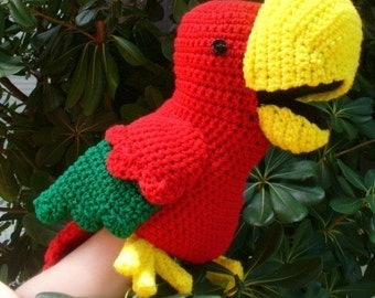 Chaco parrot stuffed hand puppet crochet pattern PDF INSTANT DOWNLOAD