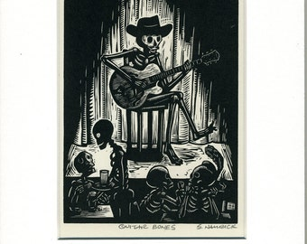 Skeleton Guitar Bones Card matted and ready to frame