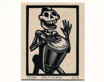 Calavera skeleton Drummer original print