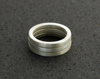 Triple Matte Stackable Rings in Sterling Silver - Made upon Order in Sustainable Metal