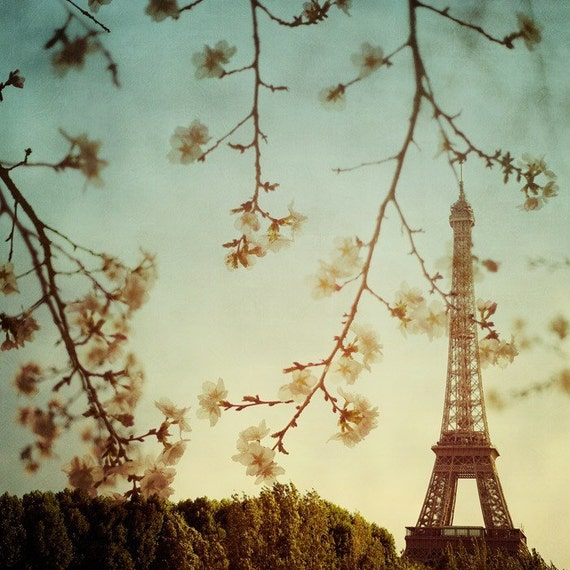 "Paris Eiffel Tower Decor, Paris Print, French Decor, Paris Photography, Romantic Wall Art, Eiffel Tower Photo, Spring 8x8 ""Printemps"""