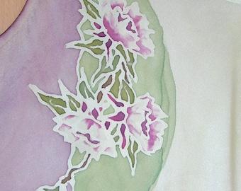 Silk Tank Top with lotus flowers
