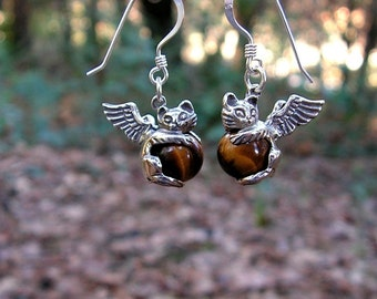 Sterling Silver Angel Kitten Earrings With Tiger Eye