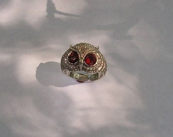 Sterling Silver Owl Ring With Fire Citrine Eyes