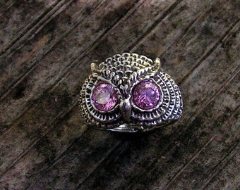 Sterling Silver Owl Ring With Pink Tourmaline Eyes