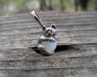 Sterling Silver Kitten Pendant With Moonstone