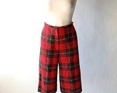 Bermuda Shorts / High Waist / Plaid Long Shorts / Red Black Yellow Tartan / xs s