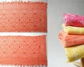 Italian Coverlet . orange brocade damask . Art Deco . Bows . Tulips . Floral . soft beach blanket