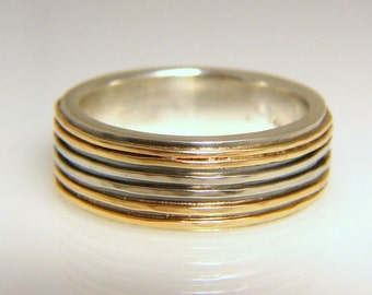 yellow and white gold wedding band, sterling silver and 18k gold sparkle ring