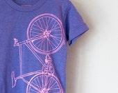 FIXIE BICYCLE 2T Tshirt toddler tri-blend bike tee pink on tri-purple tee
