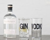 SALE Vodka - screen printed collins glass, cocktail barware
