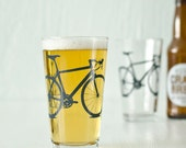 4 hand printed bike pint glasses bicycle glassware