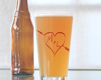True love, custom screen printed glassware, pint glasses