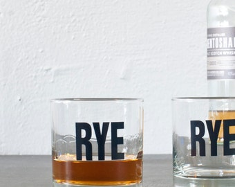 SALE Rye - hand printed rocks glass, charcoal letters printed on old fashioned glass