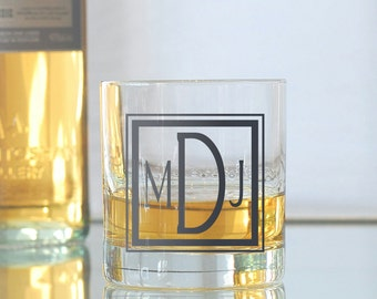 Custom square monogram, screen printed glassware, old fashioned glasses
