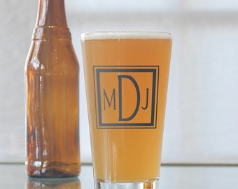 Custom square monogram, screen printed glassware, pint glasses