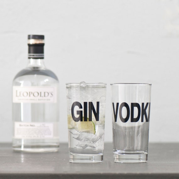 Gin and Vodka - set of four hand printed collins glasses