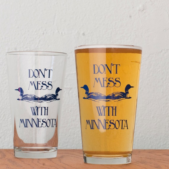 Don't Mess With Minnesota - 4 hand printed pint glasses - blue
