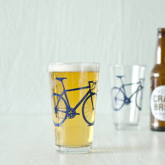 Bicycle Pint Glasses SET OF 4 Screen Printed bike Rocks