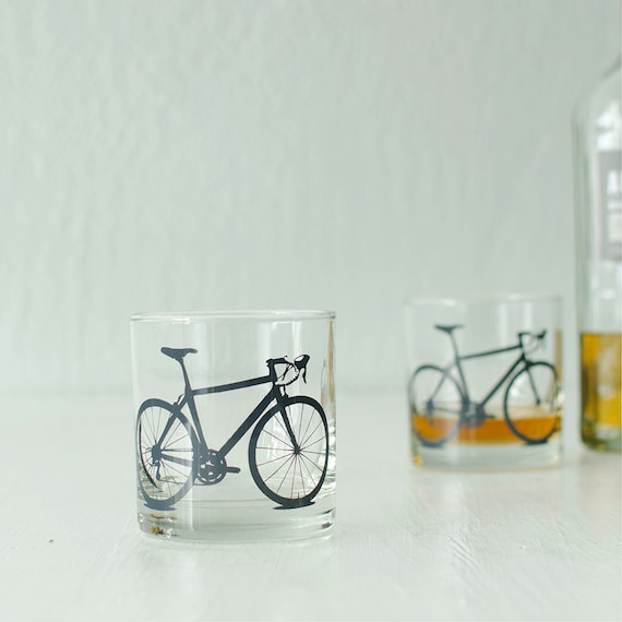 4 bike rocks or pint glasses, screen printed bicycle glassware