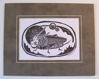Cricket in Space original hand printed limited edition linocut with mat ready to frame grasshopper bug kafka anthropomorphic surrealism