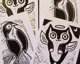 Things With Wings Strutting Bird and Angel Kitty Black and White Card Assortment set of 4 with envelopes linocut expressionism folk art kids