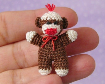 PDF PATTERN - Amigurumi Crochet Tutorial Pattern Miniature Baby Sock Monkey