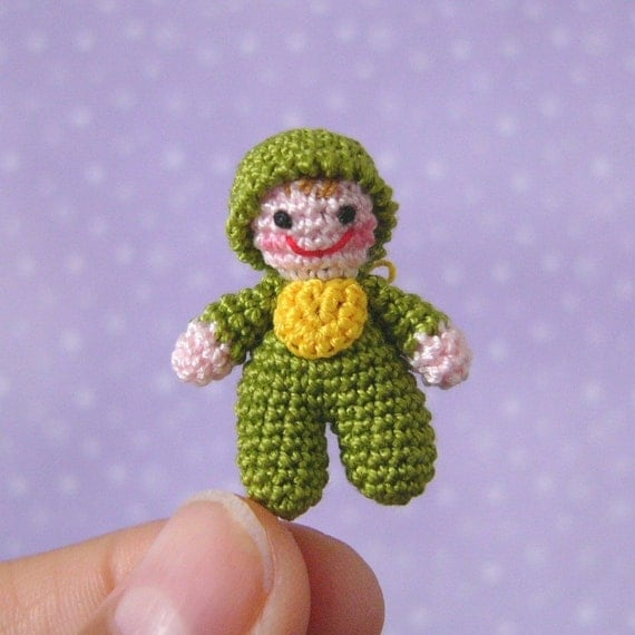 PDF PATTERN - Amigurumi Micro Crochet Tutorial Pattern Miniature Itty Bitty Baby Doll