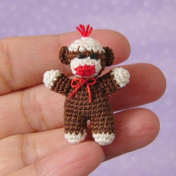 PDF PATTERN - Amigurumi Crochet Tutorial Pattern Miniature Baby Sock Monkey