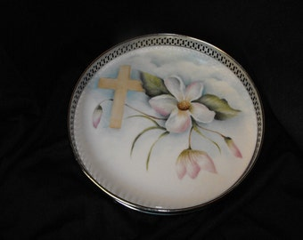 Kiln Fired Dogwood and Cross Tray