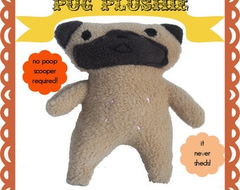 Pug Sewing Pattern, Instant Download Stuffed Animal Sewing Pattern, DIY Stuffed Animal, DIY Plush Pattern, Plush Dog Sewing Pattern