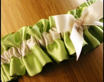 Wedding Garter two color with wedding date embroidery