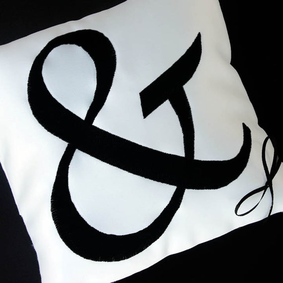 Wedding Ring Pillow with Custom Ampersand-any color